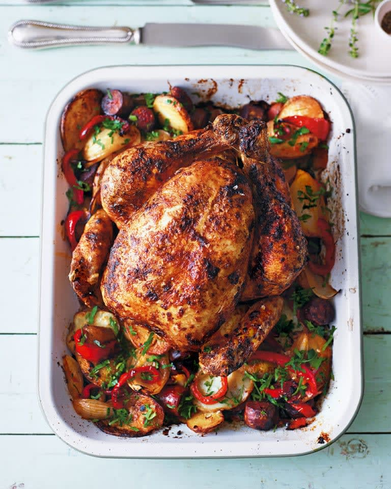Paprika-roast Chicken with Potatoes & Peppers
