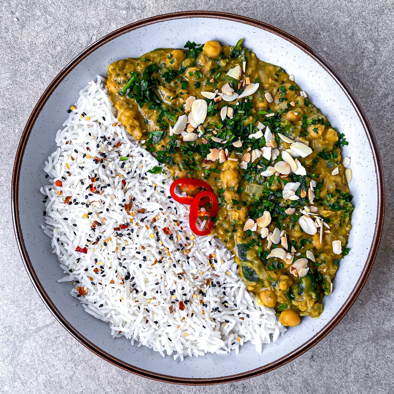 Chickpea, Lentil and Spinach Curry