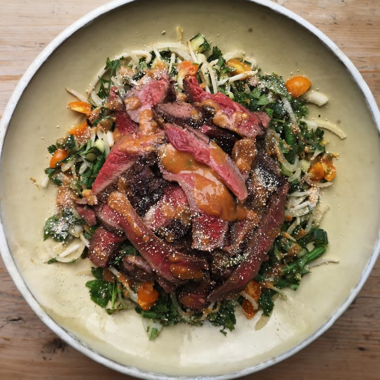 Thai style rump steak salad with peanut butter dressing by William Leigh