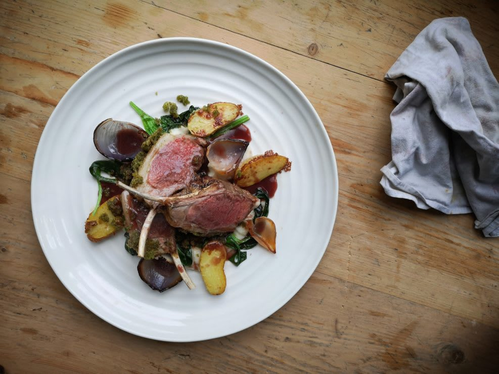 Mother's Day - Rack of Lamb, with Cauliflower Purée, Wild Garlic, Potatoes and Port