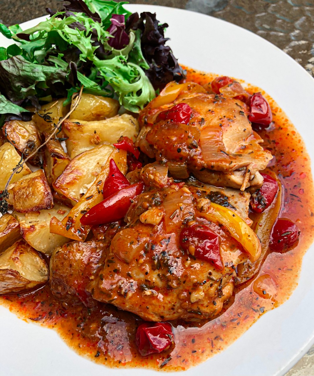 Oven cooked Spanish chicken