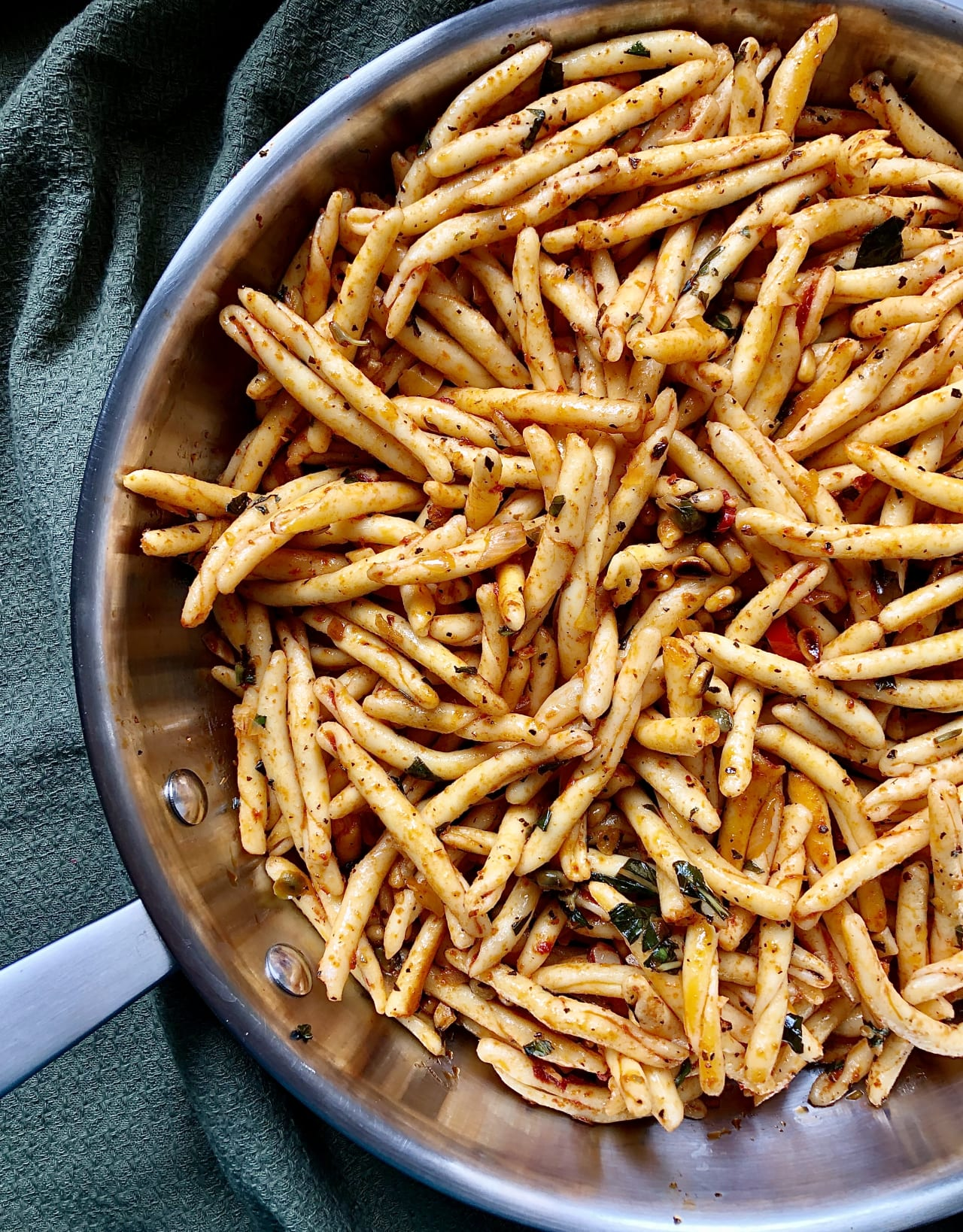 Gemelli with a Nutty and Herby Tomato Paste Sauce