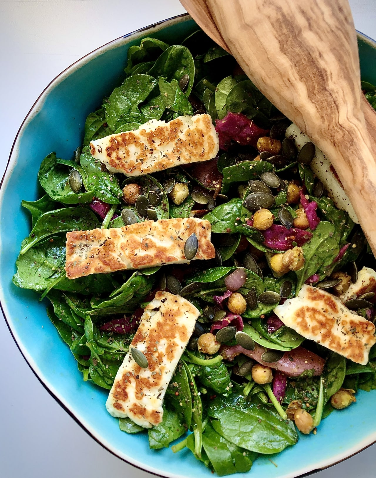 Roasted Chickpea, Pan Fried Halloumi, Spinach Salad
