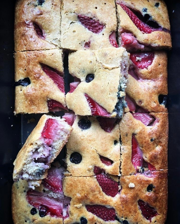 Gluten Free Blueberry, Strawberry, Almond Sheet Cake