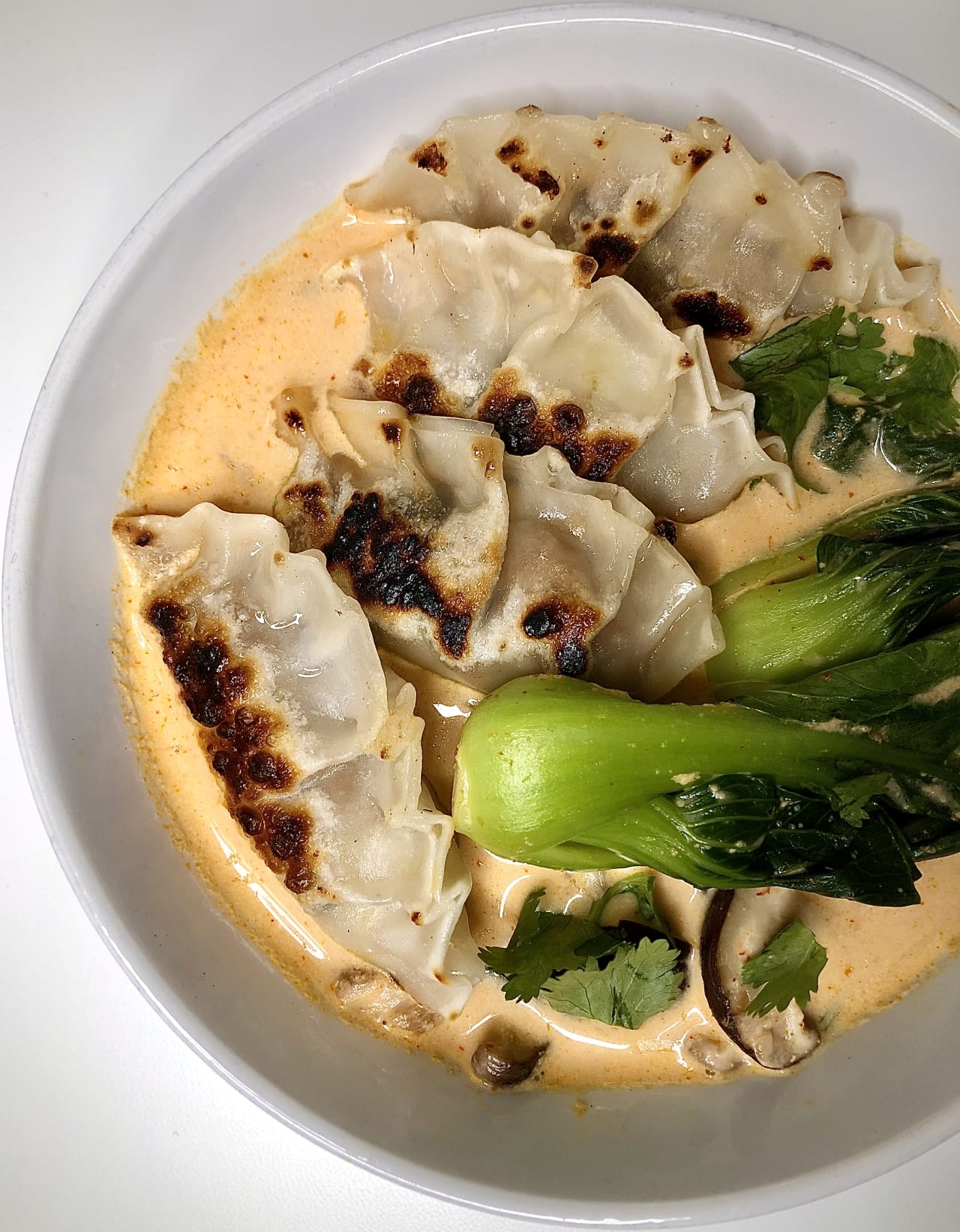 OmniPork Shiitake Cabbage Dumplings in a Coconut Red Curry Broth