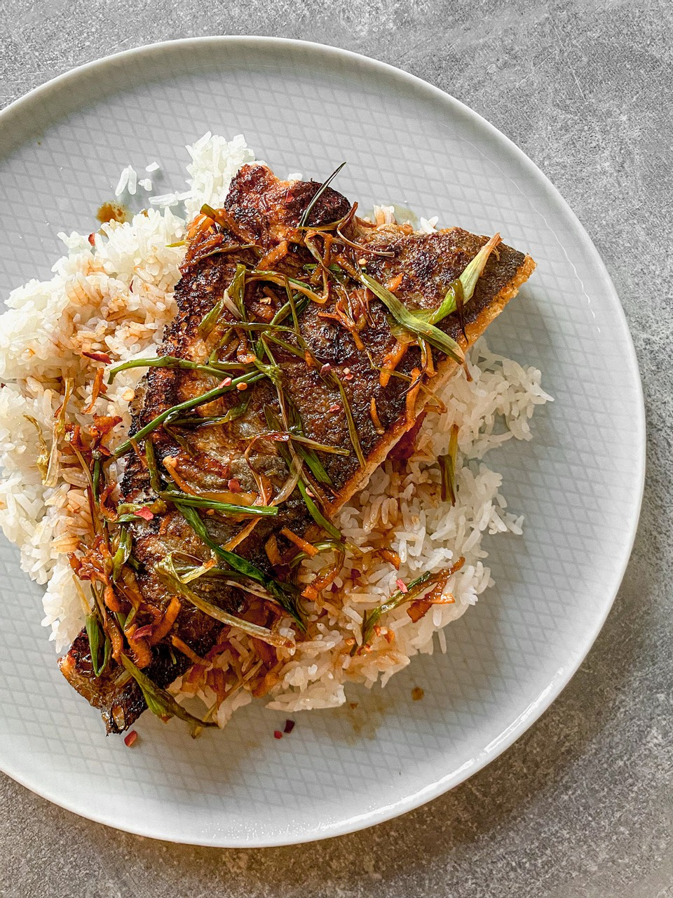 Crispy Sea Bass with Ginger & Spring Onions