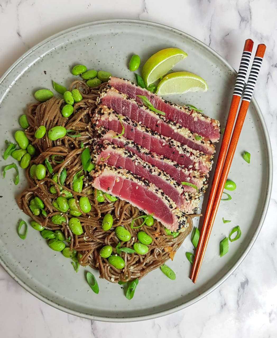Seared Sesame Tuna Steak with Ginger Soba Noodles