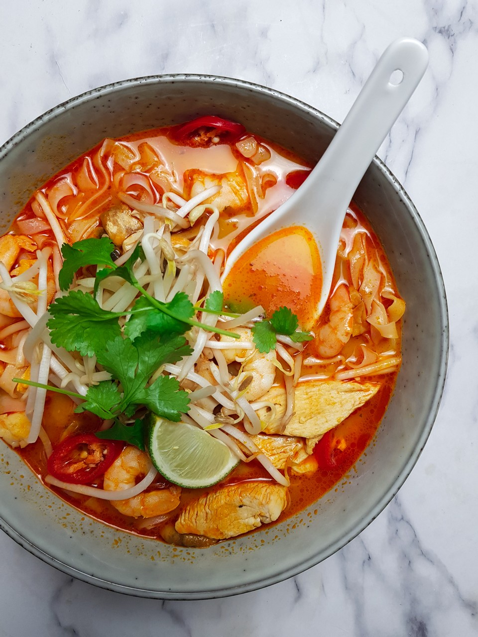 Chicken and prawn red curry laksa