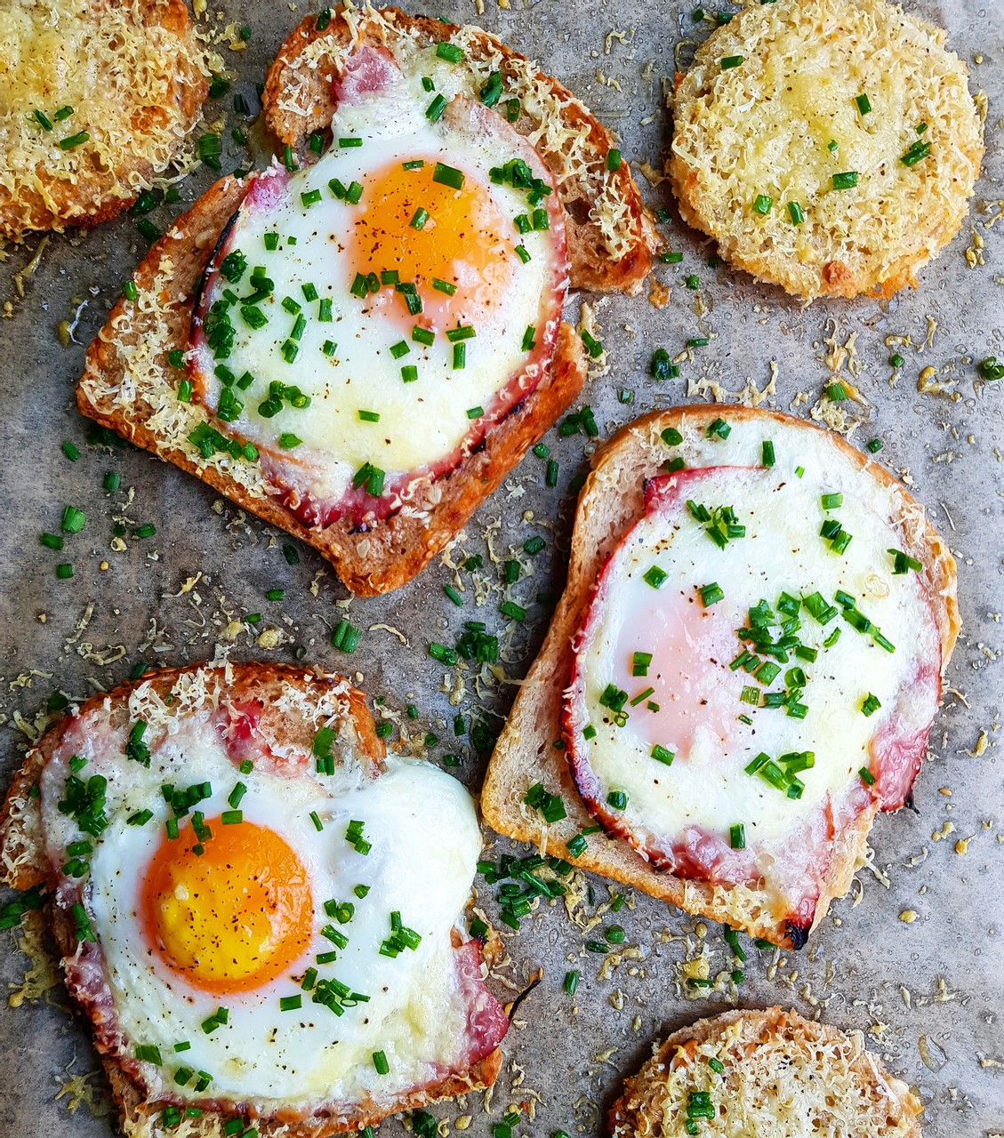 Cheese and ham egg in a hole
