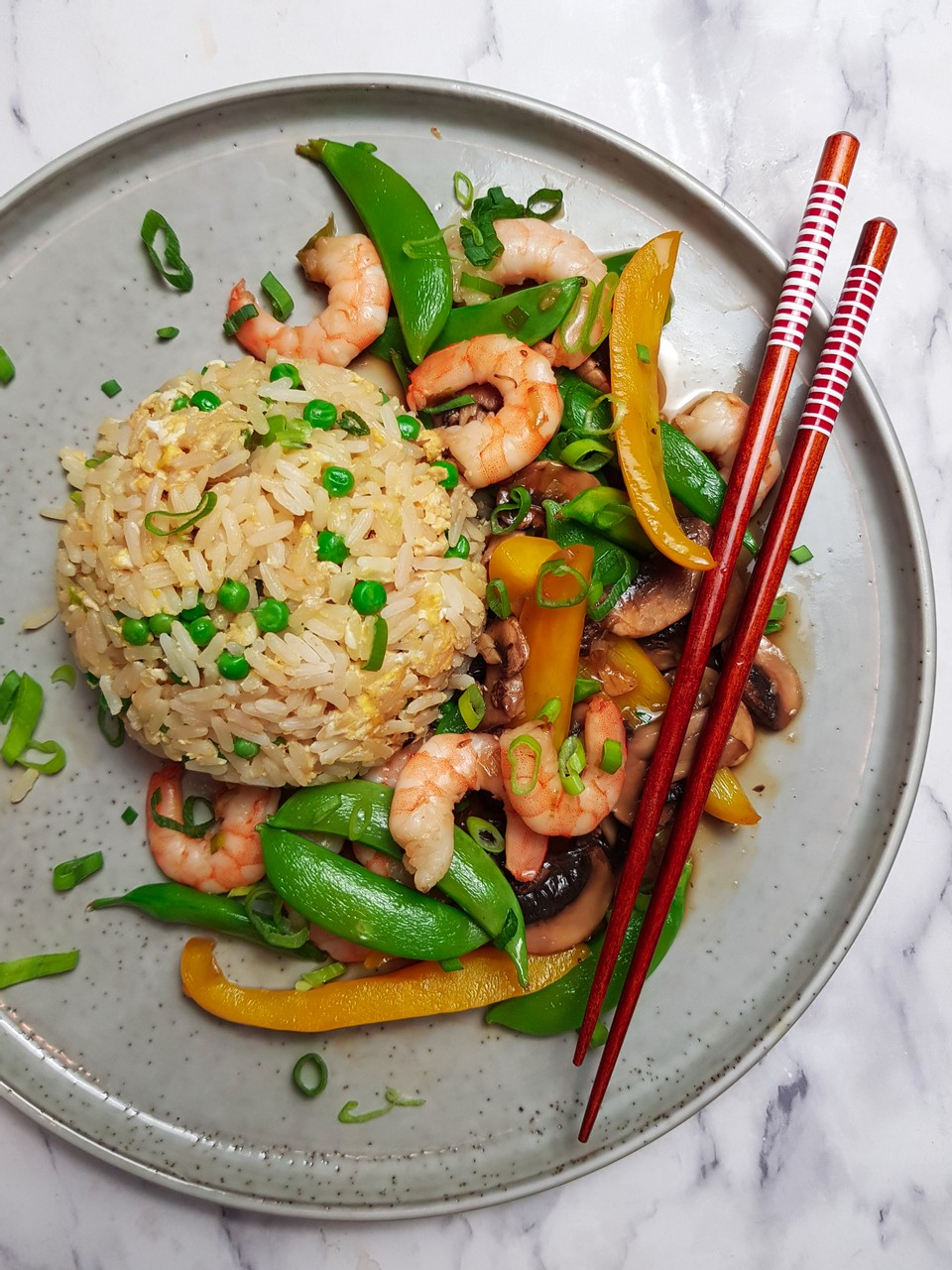 Prawns in ginger and garlic with egg fried rice