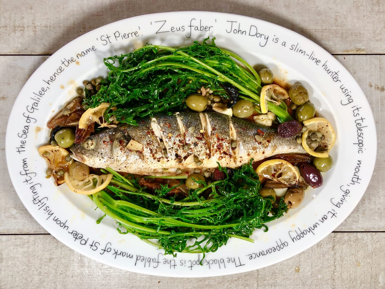Baked Sea Bass with Spigarello Kale