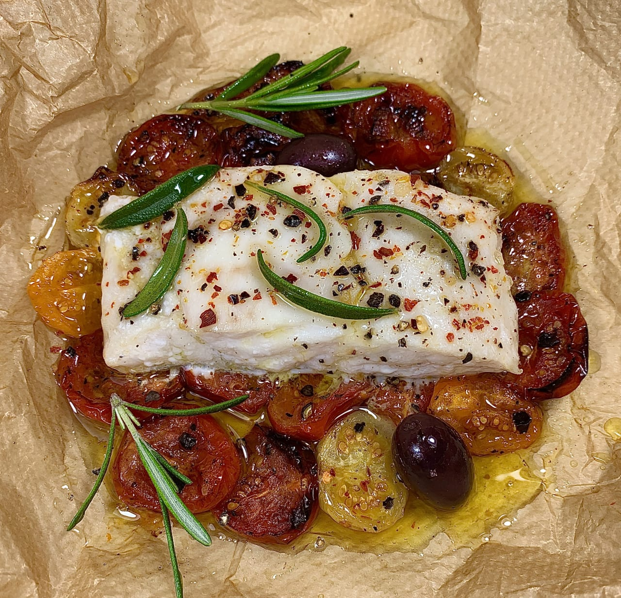 Hake with Roasted Tomatoes