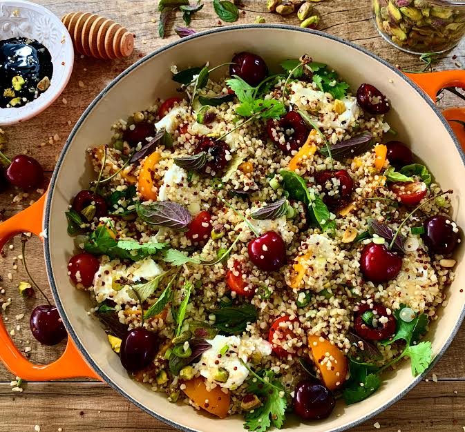 Quinoa Salad with Cherries and Myzithra Cheese