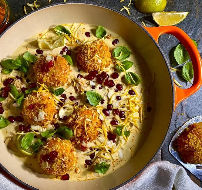 Crispy Crab Balls in a Hummus and Yoghurt Sauce