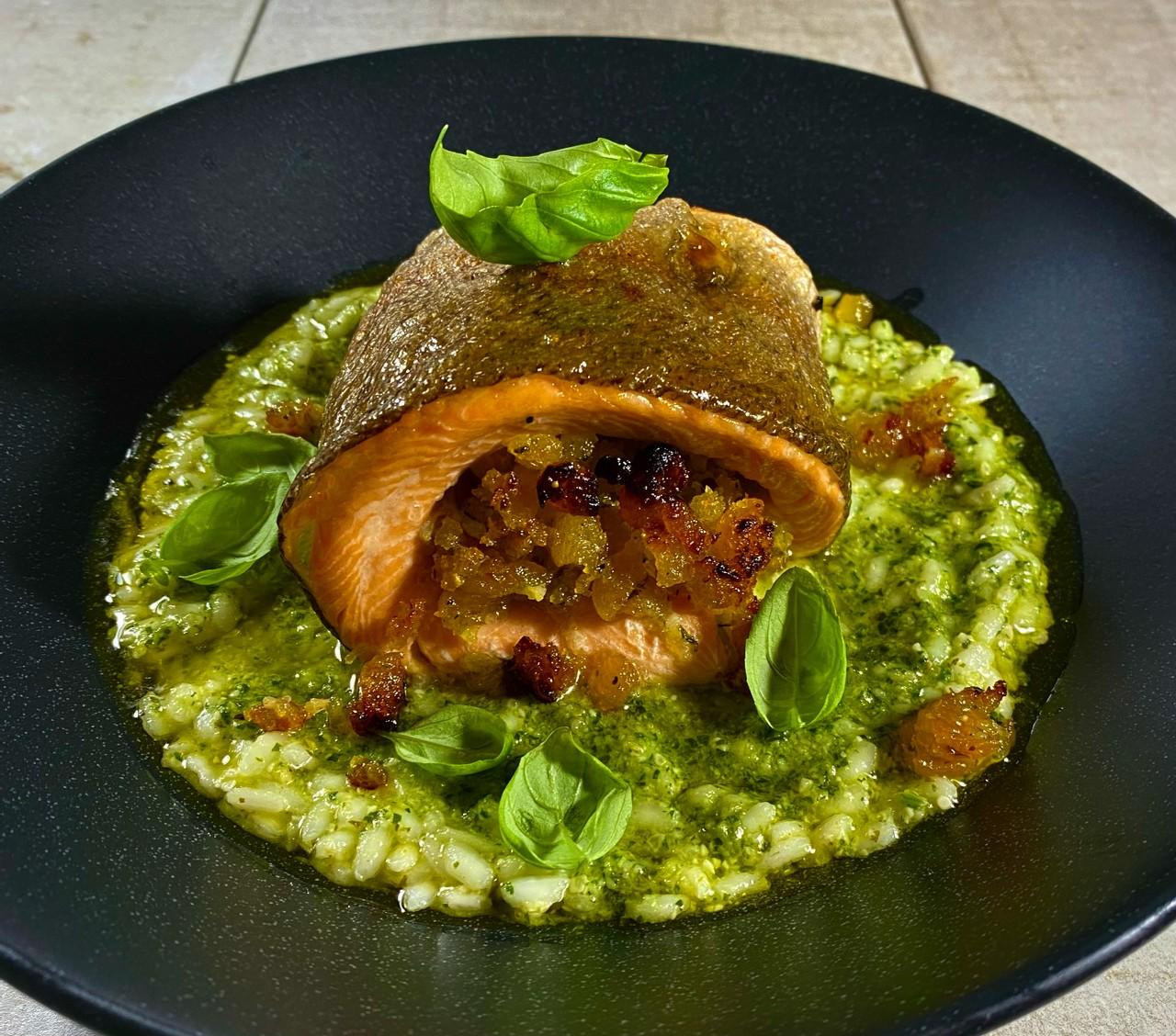 Apricot Stuffed Trout with a Pesto Risotto