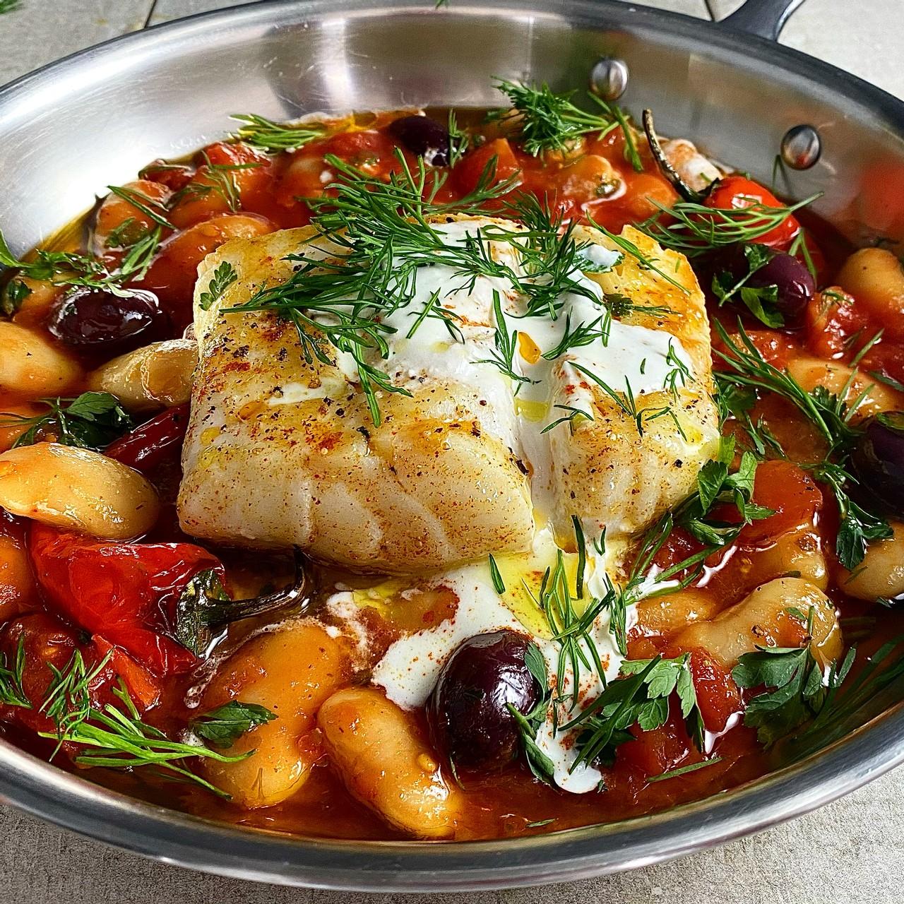 Pan Fried Cod with a Greek Style Bean Stew