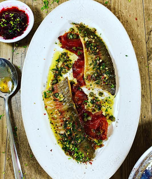 Pan Fried Fillet of Trout with Serrano Ham