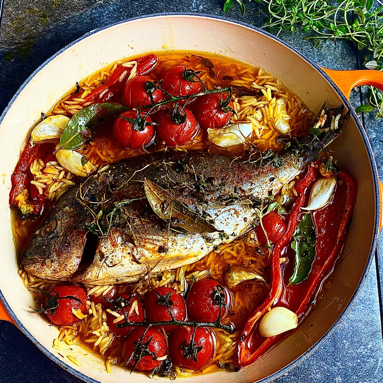 Baked Bream with Garlic and Saffron Rice