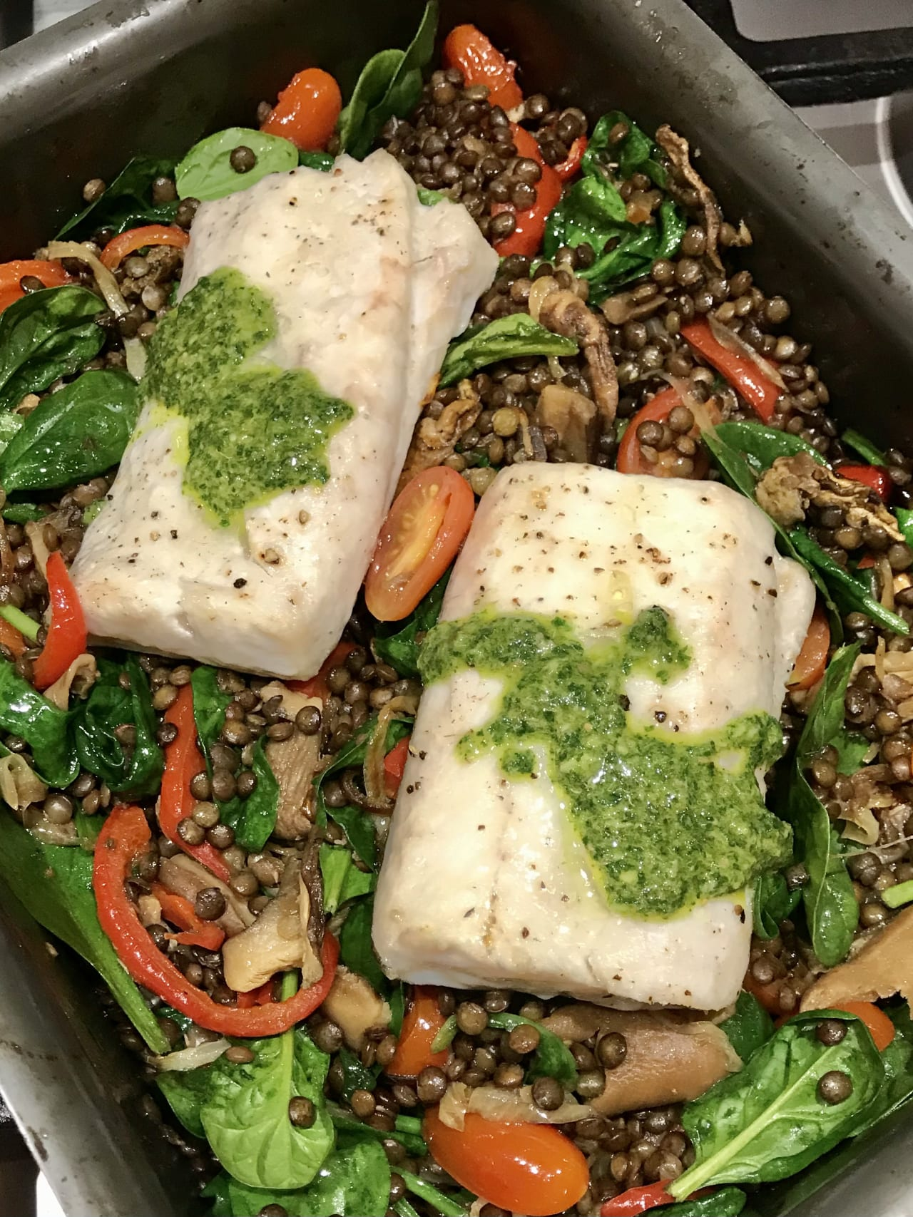Tray-Baked Fish with Puy Lentils and Salsa Verde