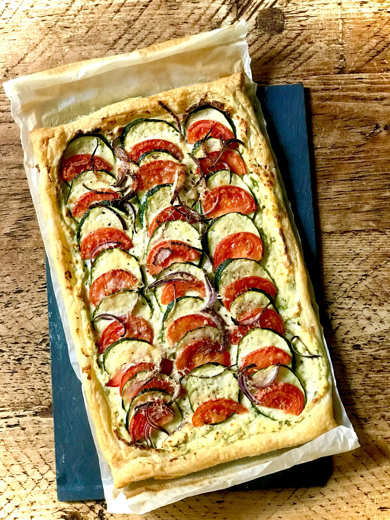 Tomato, Courgette and Ricotta Tart