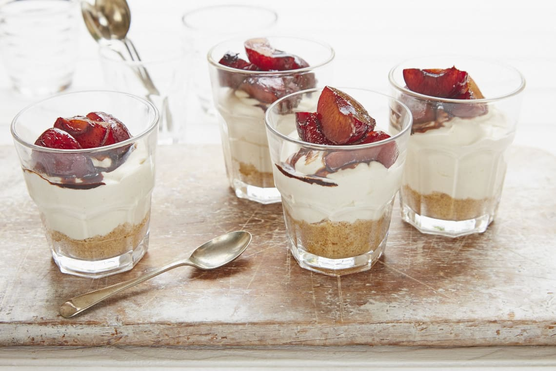 Vanilla Cheesecakes with Baked Plums