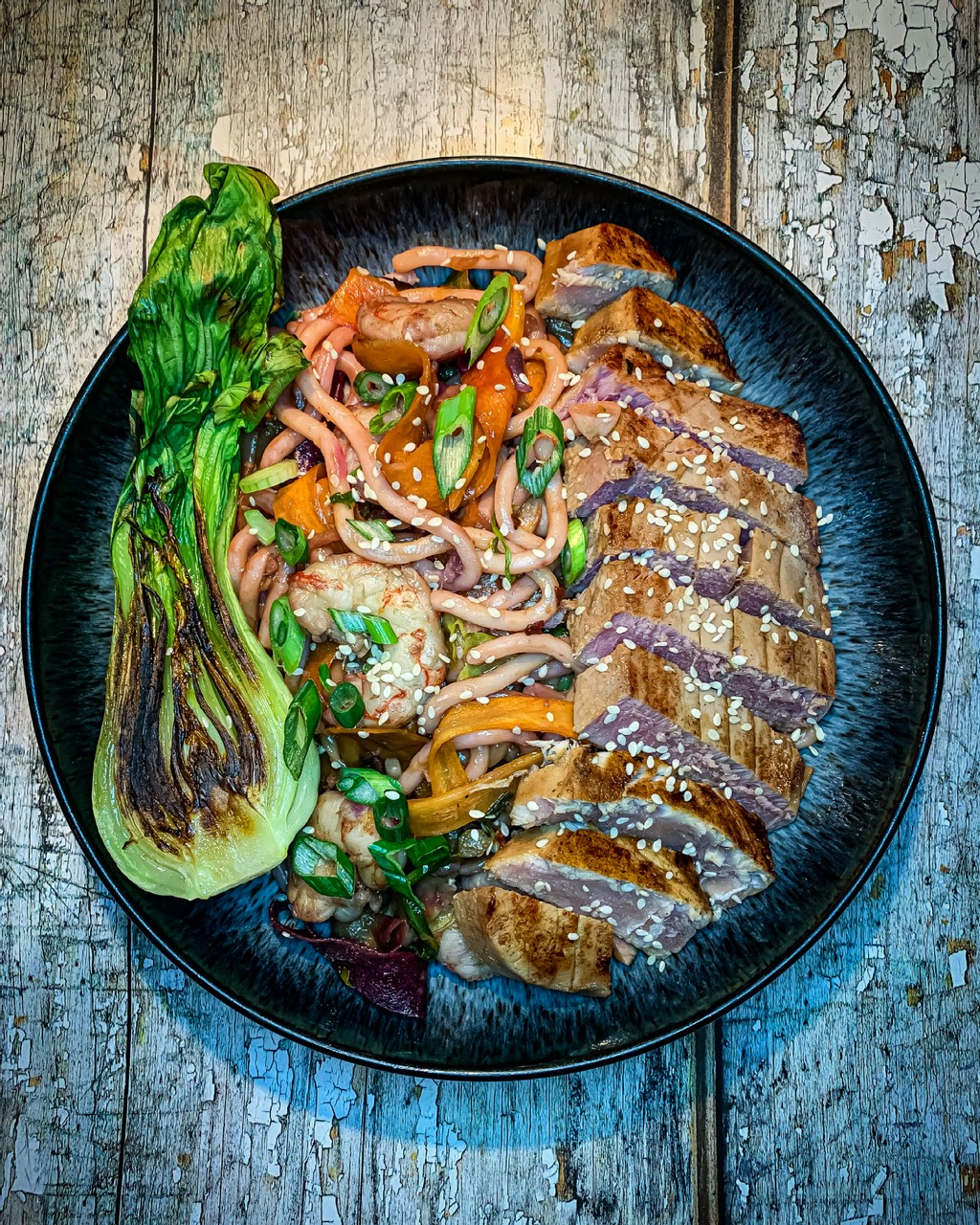 Seared Tuna Steaks with Udon Noodle Stir Fry