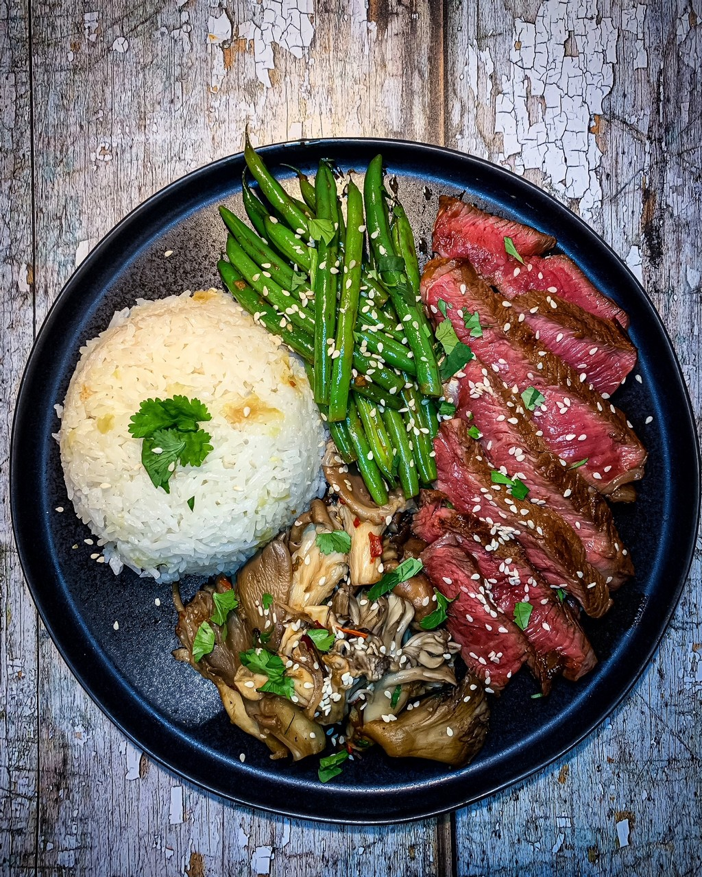 Soy Soaked Steak with Asian Green Beans