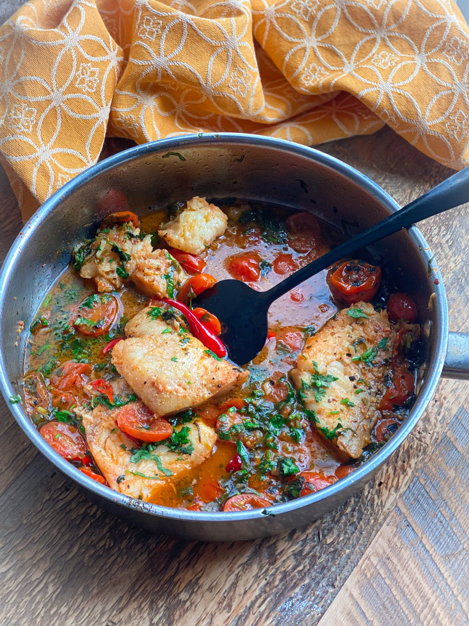 Cod in a Tomato and Herb Broth