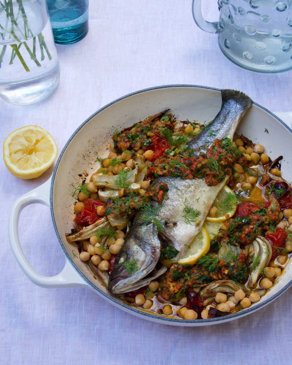 Roasted Mediterranean Sea Bass with Tomatoes, Fennel & Chickpeas