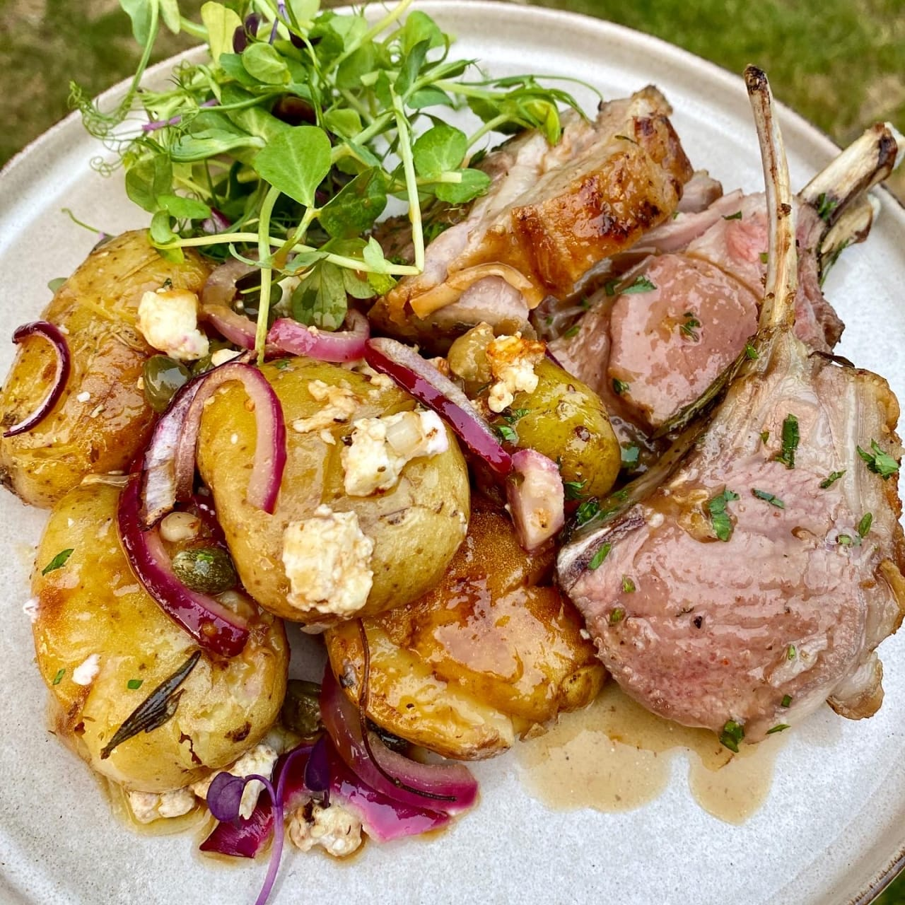 Lamb Rack with Greek Style Jersey Royals