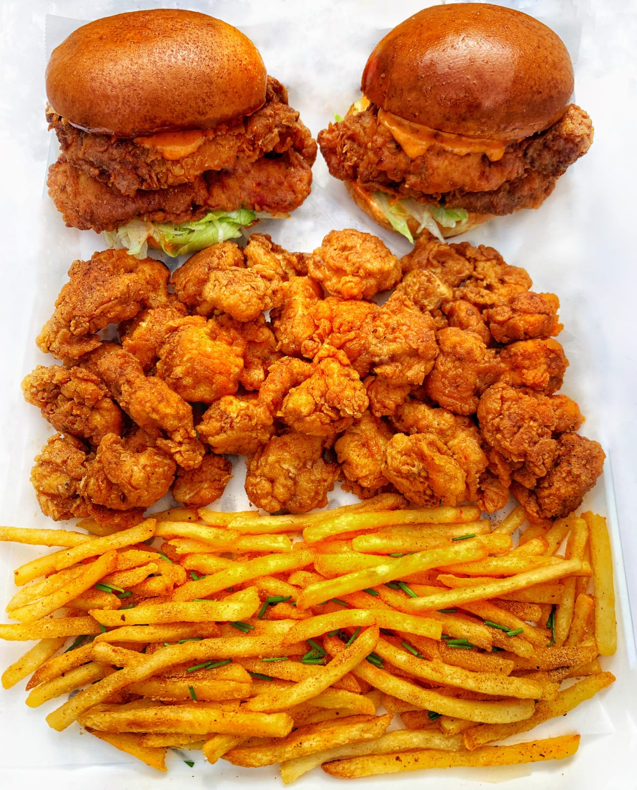 Popcorn Chicken and Spicy chicken burgers