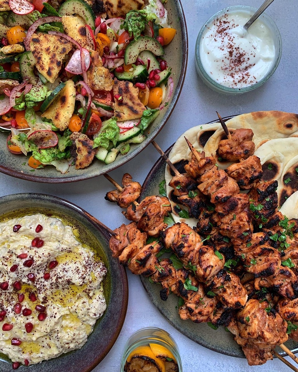 Lebanese Chicken Skewers with Toum and Moutabal