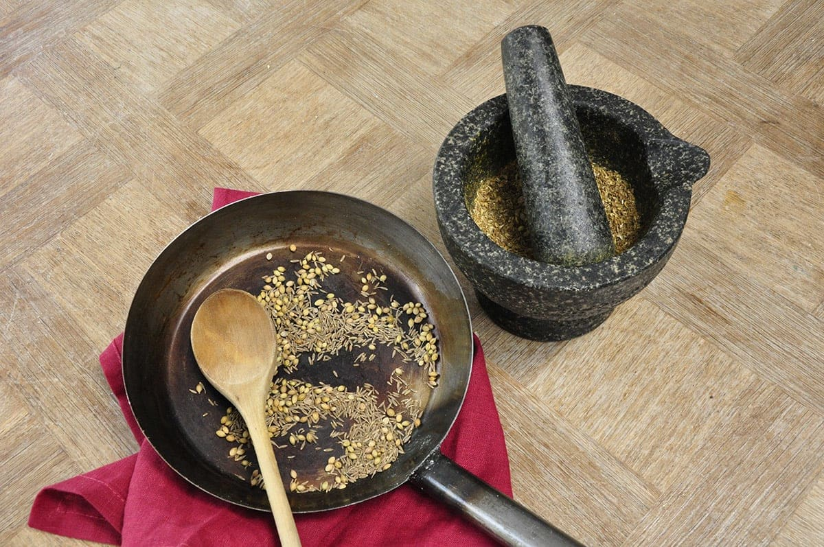 Toasting and grinding spices