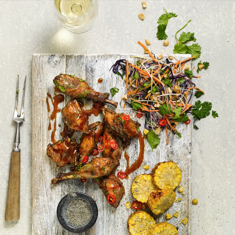 BBQ Pheasant with Asian Slaw