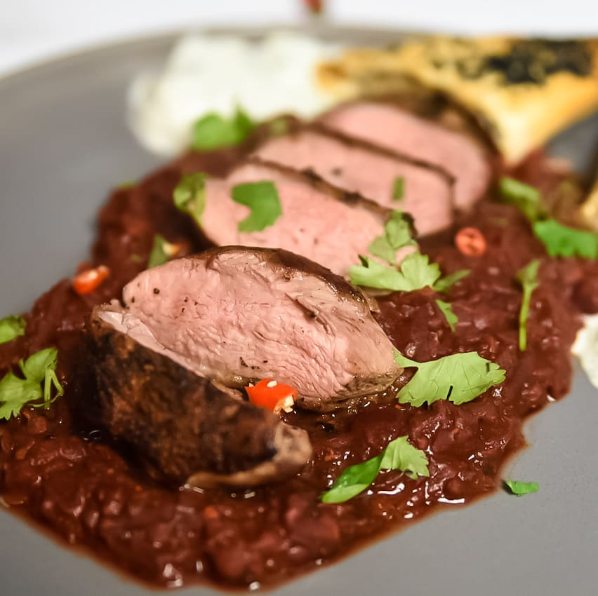 Beetroot Dal and Pan Fried Duck Breast