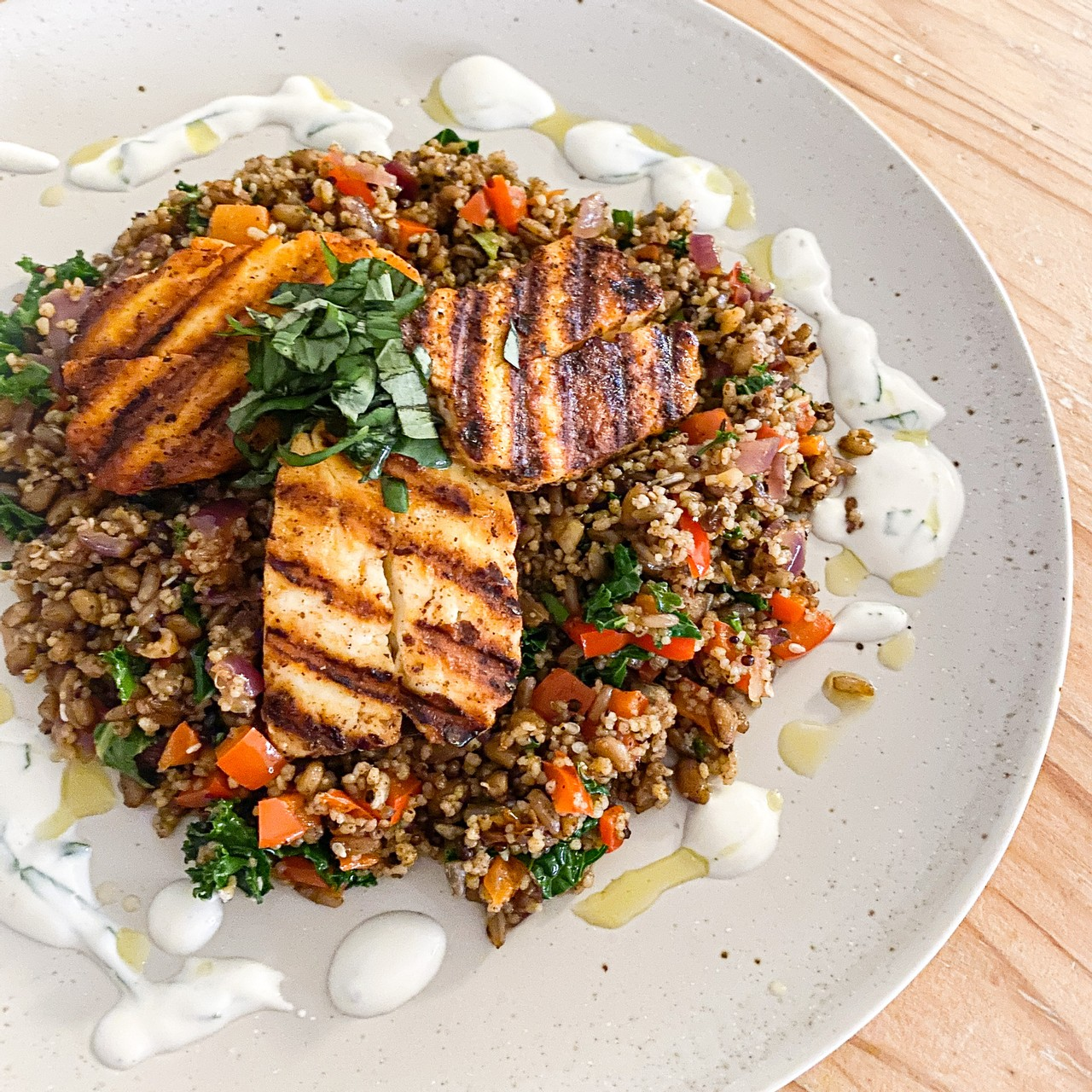 Spiced Halloumi, Pepper and Cous Cous Salad