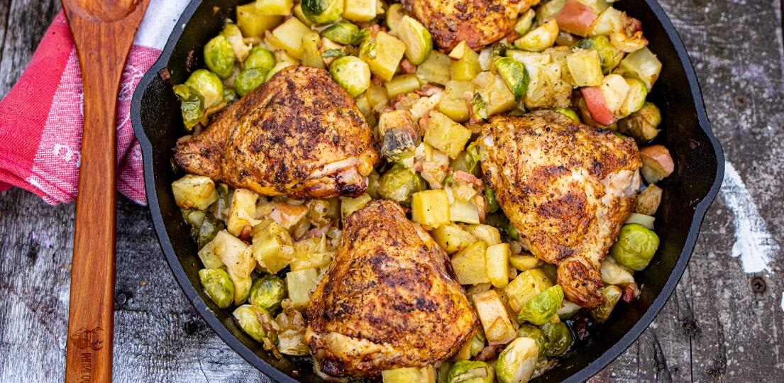 One pan meal with chicken, sweet potatoes and Brussels sprouts