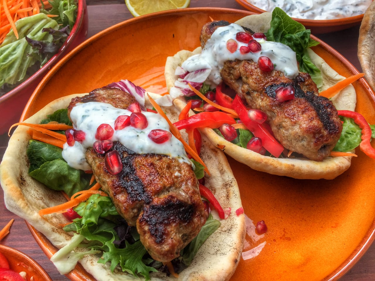 Lamb Kebabs with homemade Flatbread